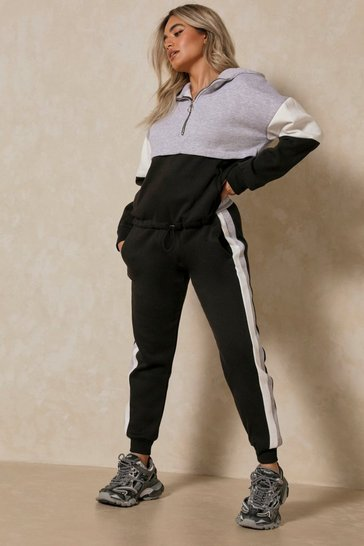Black Colour Block Zip Front Lounge Set Cropped Leg