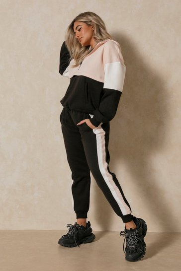Nude Colour Block Zip Front Lounge Set