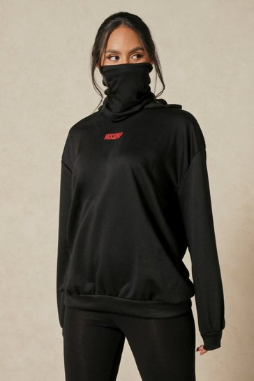 Black Misspap Hoodie With Snood