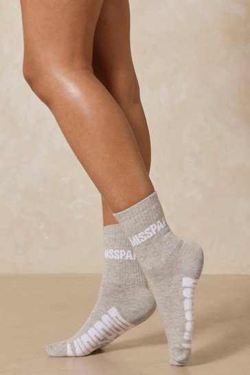 Grey Misspap Branded Socks