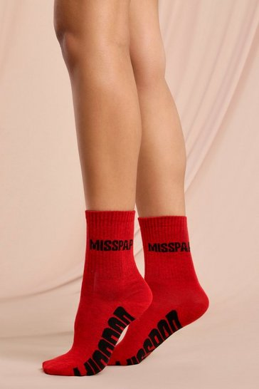 Red MISSPAP Branded Socks