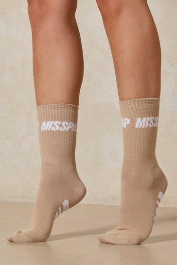 Stone MISSPAP Branded Socks