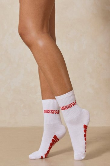 White Misspap Branded Socks