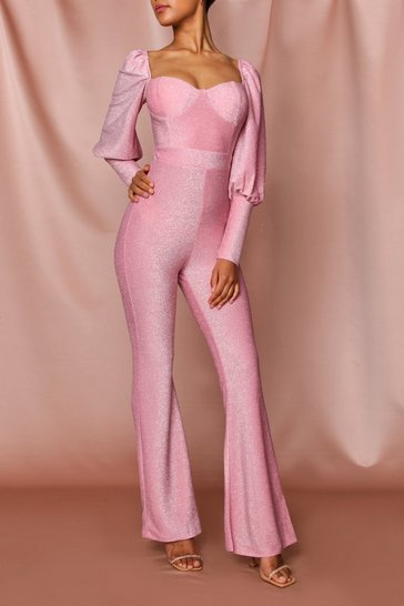 Rose pink Glitter Puff Sleeve Wide Leg Jumpsuit
