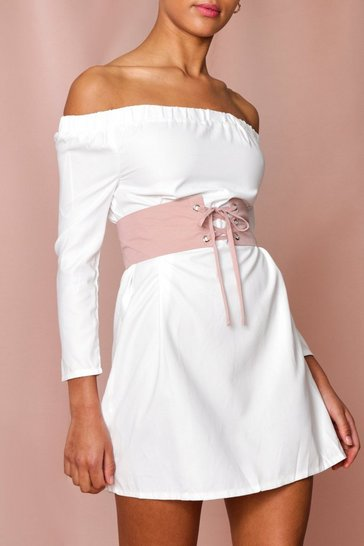 White Bardot Corset Belt Mini Dress