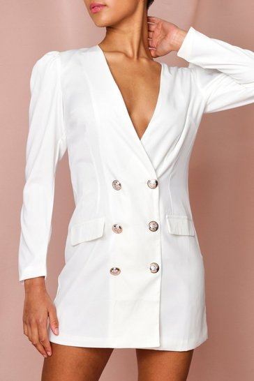 White Double Breasted Plunge Blazer Dress