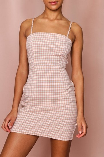 Nude Check Square Neck Cami Bodycon Dress