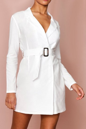 White Tortoise Buckle Belted Blazer Dress