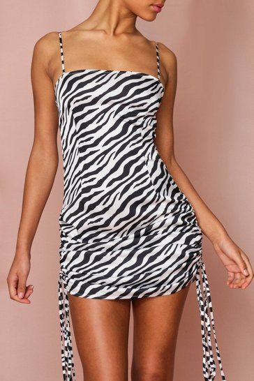 White Zebra Multiway Ruched Side Strappy Maxi Dress