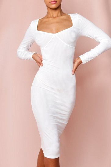 Cream Ribbed Seam Detail Midi Dress