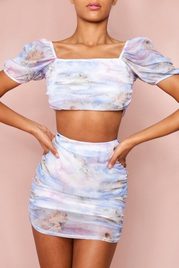 Lilac Renaissance Print Ruched Mesh Co-Ord