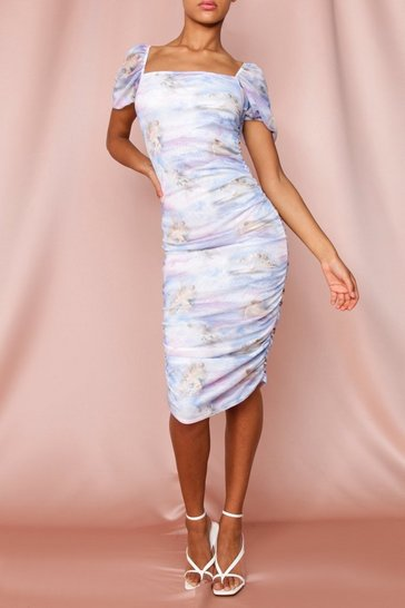Lilac Renaissance print Ruched Puff Sleeve Mesh Dress