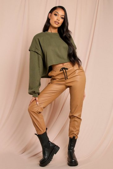 Tan Faux Leather Joggers