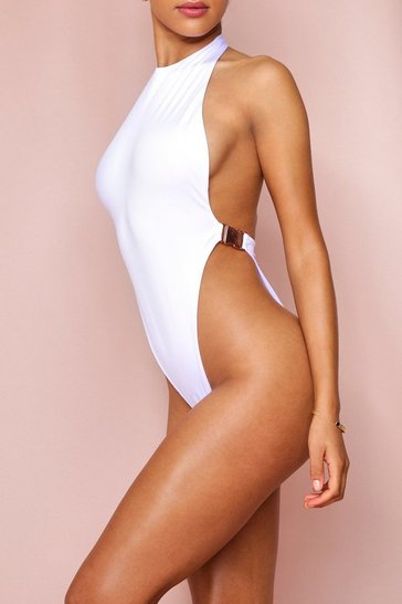White High Neck Buckle Detail Swimsuit