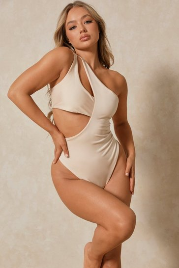 Nude One Shoulder Double Cut Out Swimsuit