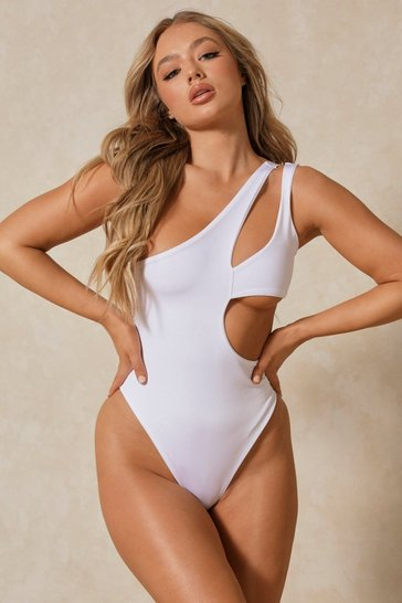 White One Shoulder Double Cut Out Swimsuit