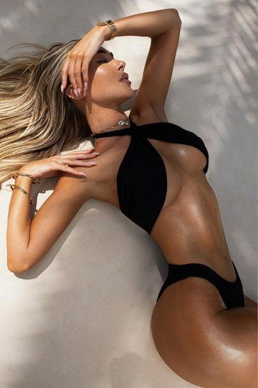 Black Twist Front Halter Neck Bikini Set