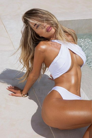 White Twist Front Halter Neck Bikini Set