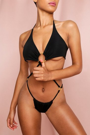 Black Strappy O Ring Cut Out Swimsuit