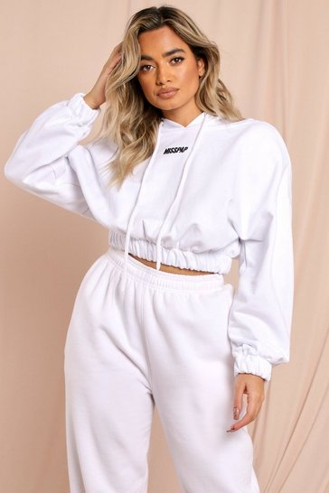 White MISSPAP Shoulder Pad Cropped Hoodie