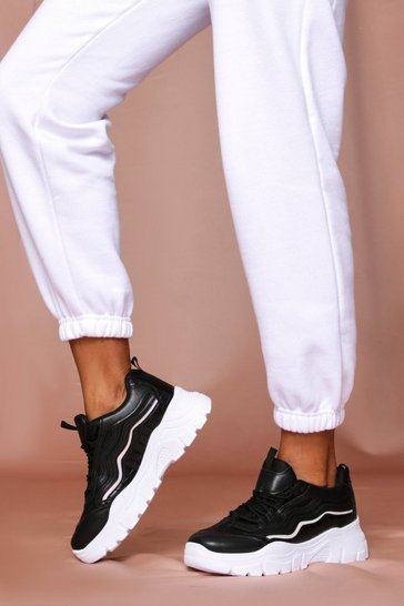 Black Chunky Sole Contrast Panel Sneakers