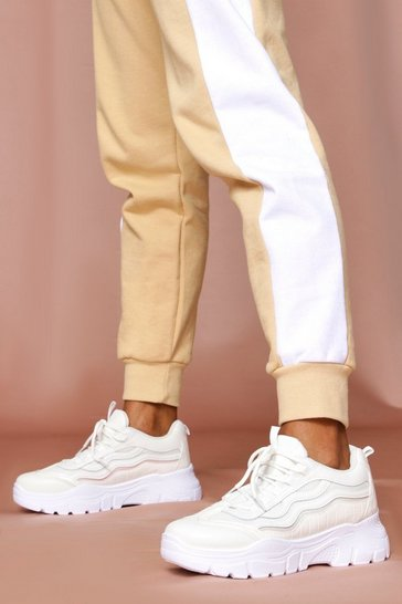 White Chunky Sole Contrast Panel Trainers