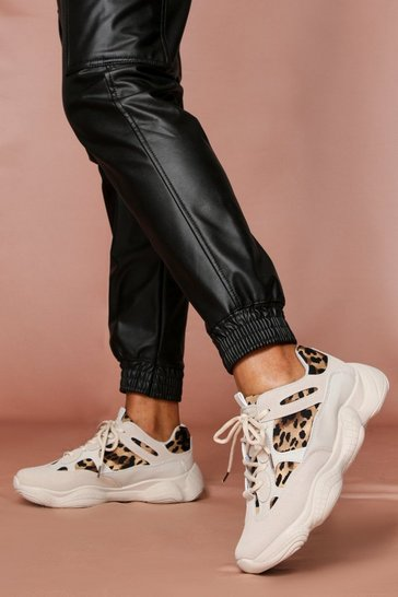 Leopard Panel Contrast Sneakers
