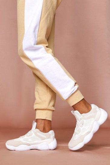 White Panelled Chunky Trainer