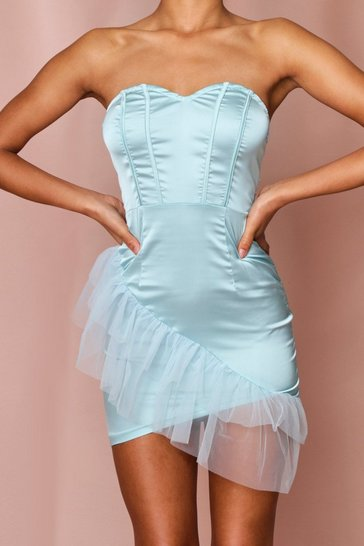 Blue Mesh Frill Detail Satin Strapless Dress