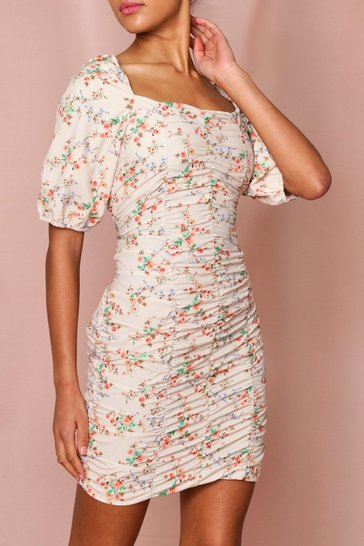 Cream Floral Ruched Mini Dress
