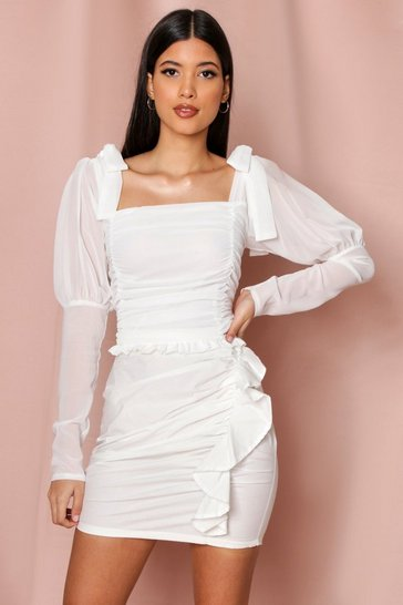White Tie Shoulder Ruched Front Blouse