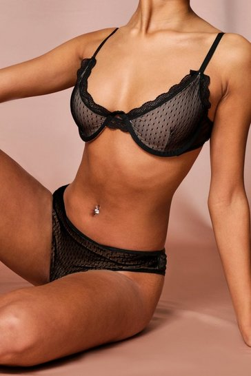 Black Dobbie Mesh Lingerie Set 2 Pc