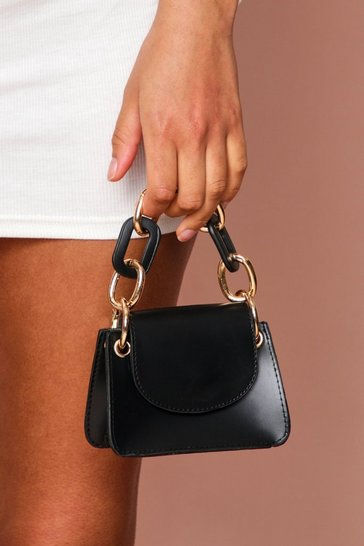 Black Mini Structured Bag With Chain Detail