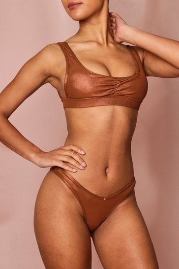 Bronze metallic leather look plunge bikini set