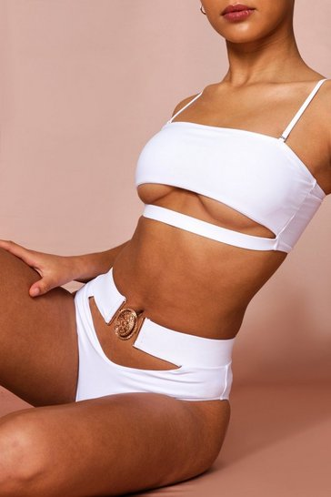 White cutout detail buckle swimsuit