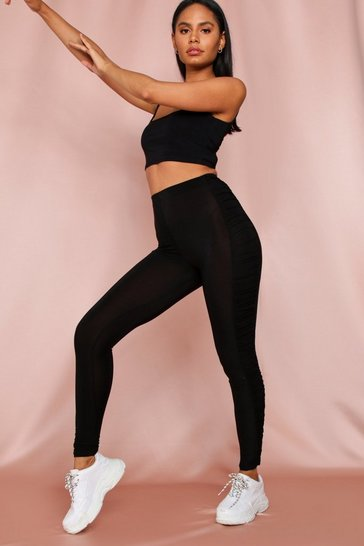 Black Side Ruch Detail Legging