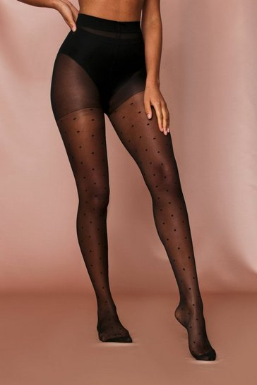 Black Polka Dot Print Tights