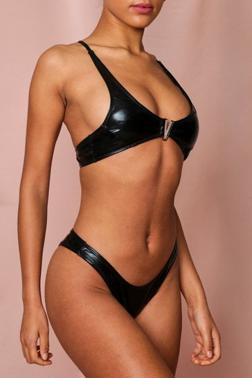 Black Leather Look V Bar Bikini Set