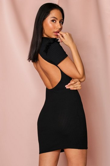 Black Cut Out Back Frill Shoulder Ribbed Dress