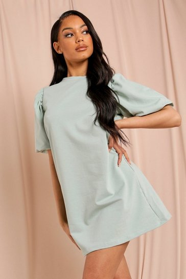 Mint Short Extreme Puff Sleeve Sweater Dress