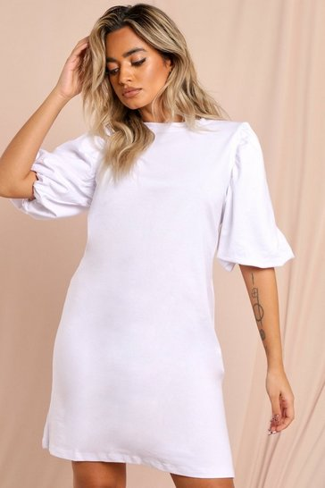 White Short Extreme Puff Sleeve Sweater Dress