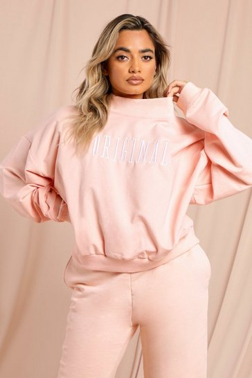Sand original embroidered high neck sweatshirt