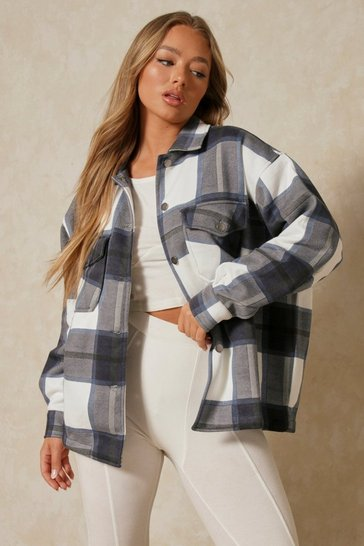 Blue Oversized Checked Pocket Detail Jacket