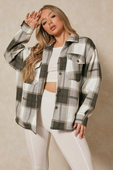 Khaki Oversized Checked Pocket Detail Jacket