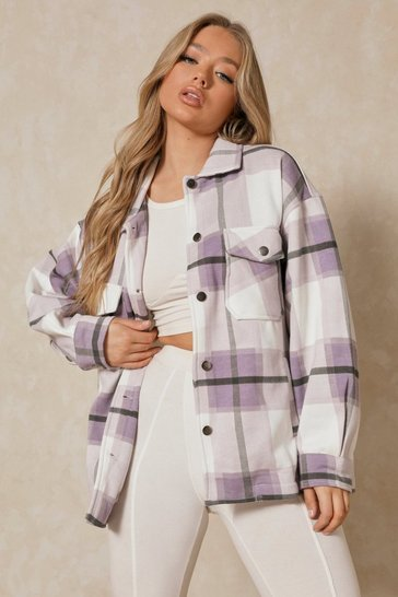 Lilac Oversized Checked Pocket Detail Shacket