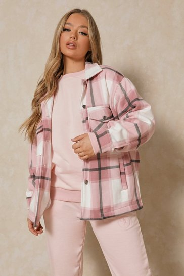 Pink Oversized Checked Pocket Detail Shacket