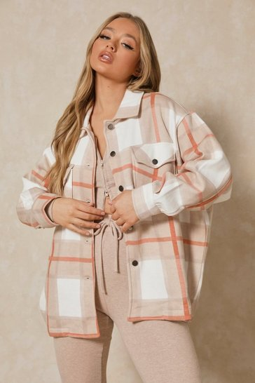 Stone Oversized Checked Pocket Detail Shacket