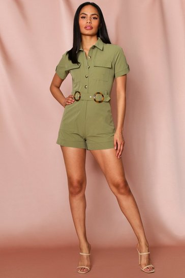 Khaki safari pocket detail playsuit