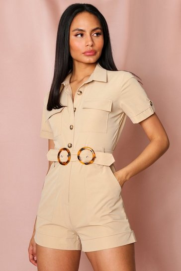 Stone safari pocket detail playsuit