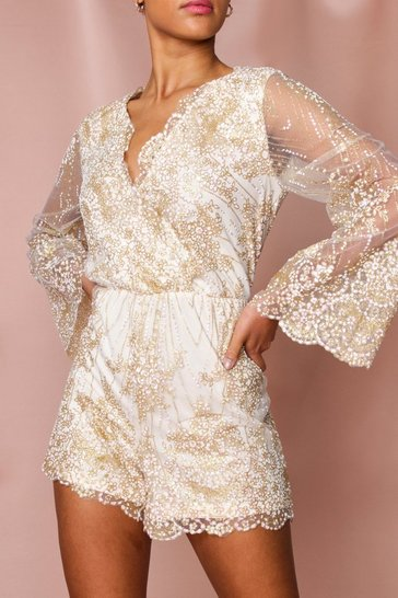 Gold Flare Sleeve Glitter Playsuit